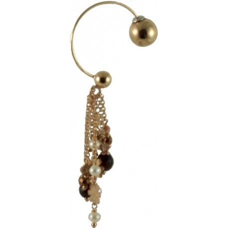 Earrings half-circle shaped with red tiger-eye, fresh water pearls and bronze agate