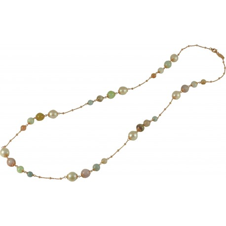 Necklace tourmalines and fresh water pearls