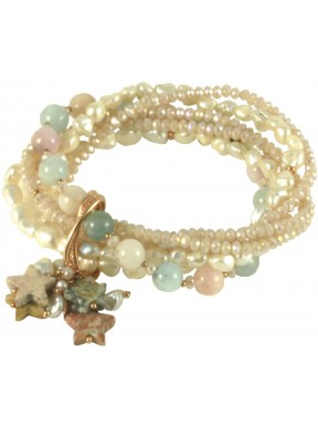 Bracelet tourmalines, keshi pearls, hydrothermal quartz and jasper stars