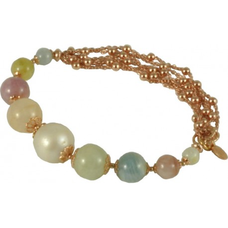 Bracelet tourmalines, fresh water pearl and silver chain