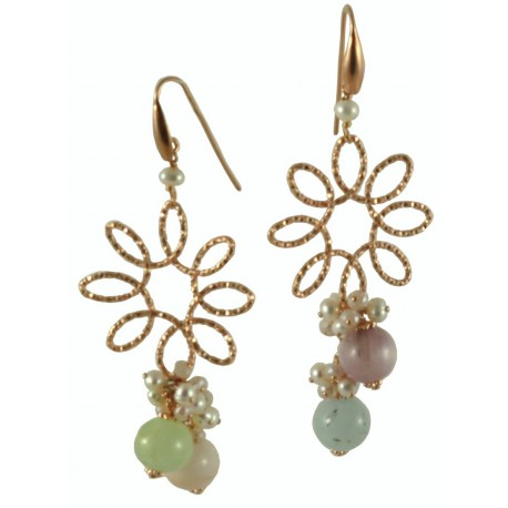 Earrings tourmalines and silver flower with a bunch
