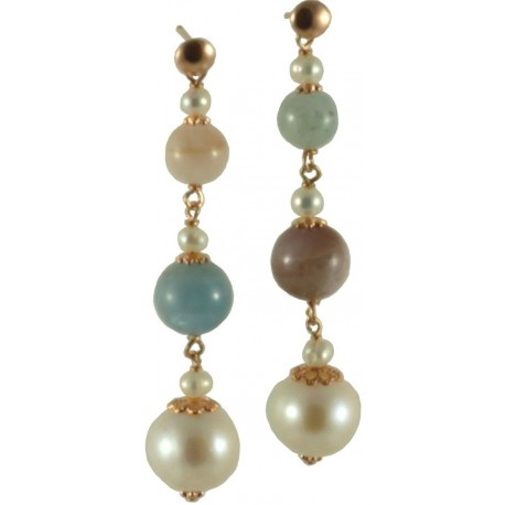 Earrings tourmalines and fresh water pearls