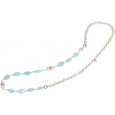 Necklace aquamarine and fresh water pearls
