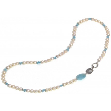 Necklace faceted aquamarine and fresh water pearls