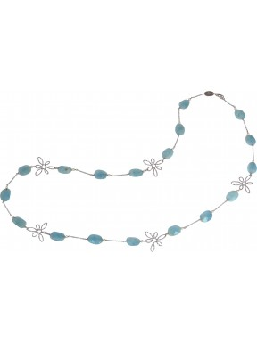 Necklace faceted aquamarine andsilver flowers