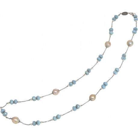 Necklace aquamarine roundell and fresh water pearls