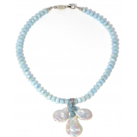 choker aquamarine and fresh water pearls