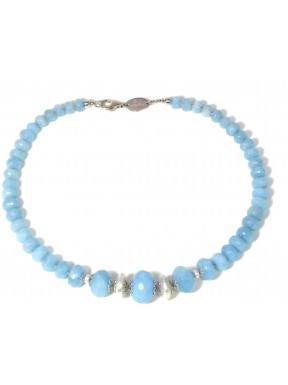 choker aquamarine roundell and fresh water pearls