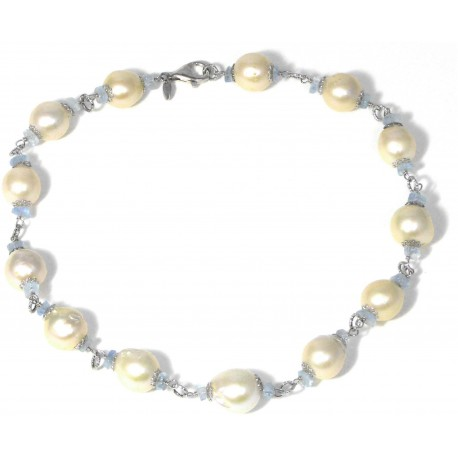 choker baroque fresh water pearls and aquamarine