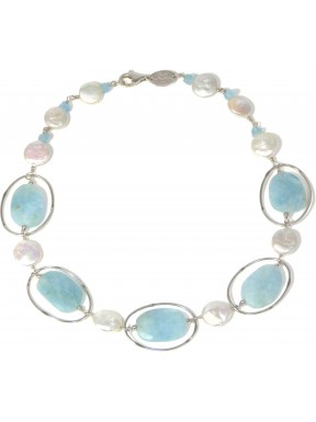 choker faceted flat aquamarine and fresh water pearls