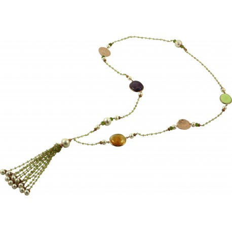 Necklace peridot with slices of citrine quartz, amethyst, lemon chrysoprase and fresh water pearls