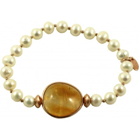 Bracelet fresh water pearls and citrine quartz slice