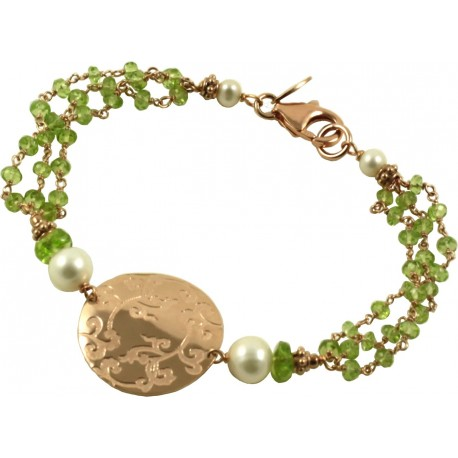 Bracelet peridot, silver element and fresh water pearls