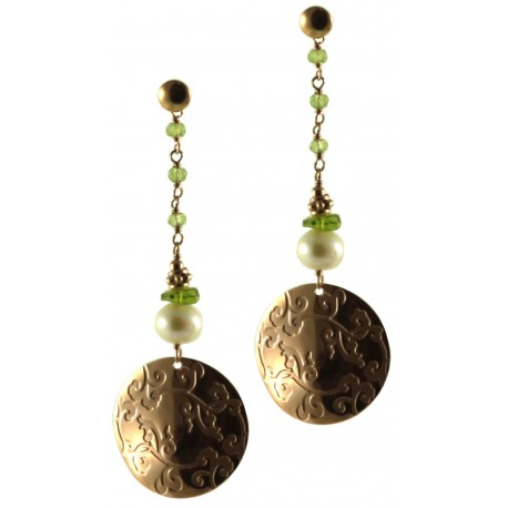 Earrings peridot, silver element and fresh water pearls