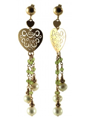 Earrings peridot, silver heart-shaped element and fresh water pearls