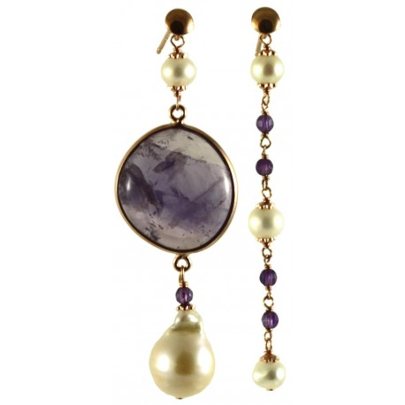 Asymetric earrings with amethyst and fresh water pearls