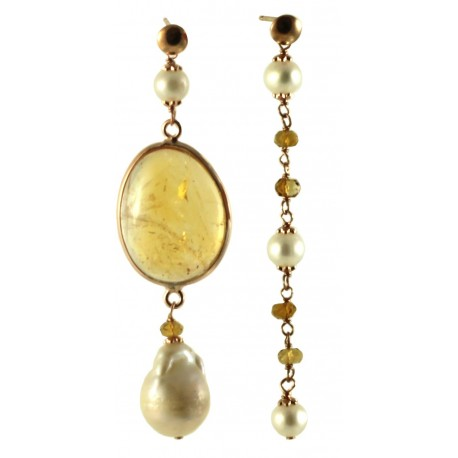 Asymetric earrings with citrine quartz and fresh water pearls