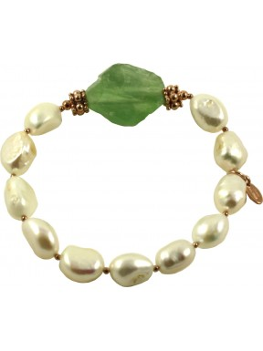 Bracelet fresh water pearls and rough prehnite