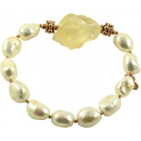 Bracelet fresh water pearls and rough citrine quartz