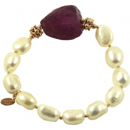 Bracelet fresh water pearls and rough amethyst