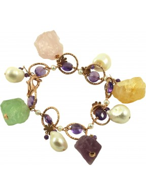 Bracelet pendants rough multicolored quartz, amethyst and fresh water pearls