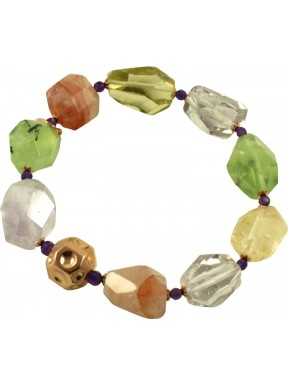 Bracelet of multicolored quartz and amethyst
