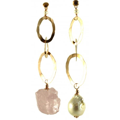 Asymmetric earrings with baroque pearl, rose quartz and silver chain