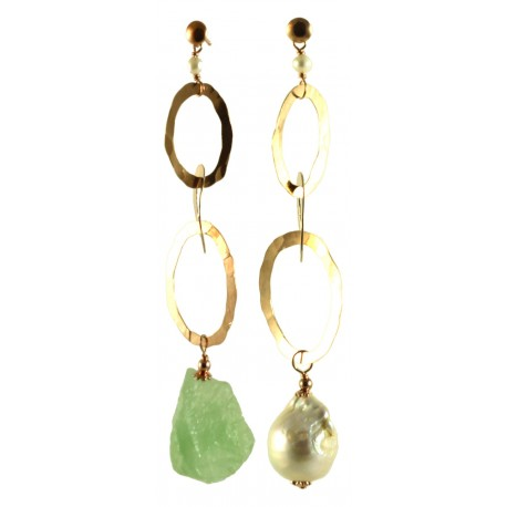 Asymmetric earrings with baroque pearl, prehnite and silver chain