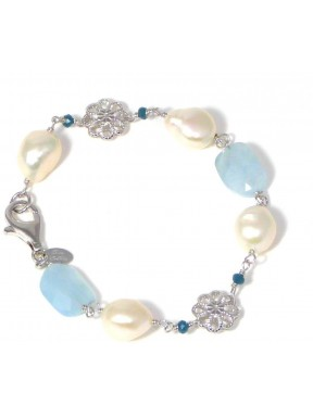 Bracelet aquamarine, fresh water pearls and quartz