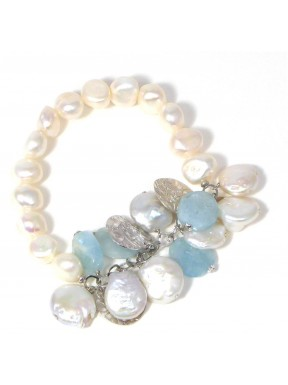 Bracelet aquamarine and fresh water pearls