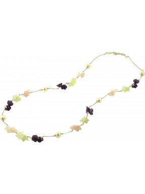 Necklace amethyst, pink quartz, jadeite flowers and cultivated pearls