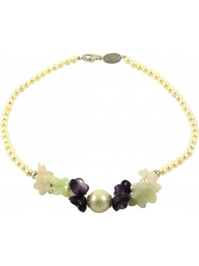 Choker amethyst, pink quartz, jadeite flowers and cultivated pearls