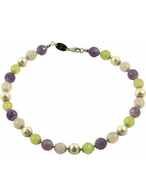Choker amethyst lavender, pink quartz, jadeite and cultivated pearls