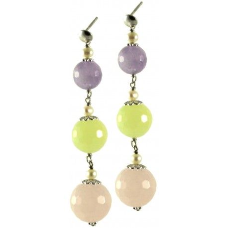 Earrings amethyst lavender, pink quartz, jadeite, cultivated pearls and silver chain