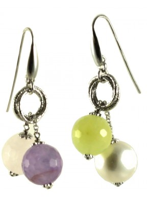 Asymmetric earrings amethyst lavender, pink quartz, jadeite, cultivated pearls and silver chain