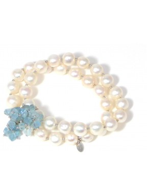 Two strings bracelet aquamarine and fresh water pearls