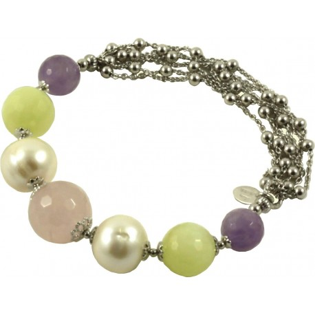 Bracelet amethyst lavender, pink quartz, jadeite, cultivated pearls and silver chain