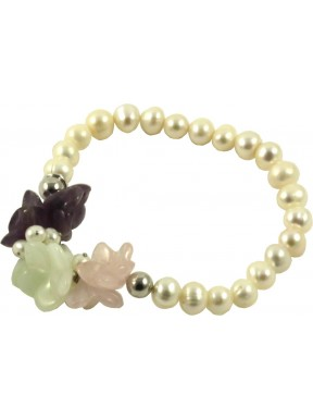 Bracelet amethyst lavender, pink quartz, jadeite flowers and cultivated pearls