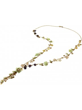 Silver chain with multicolored quartz flowers and cluster