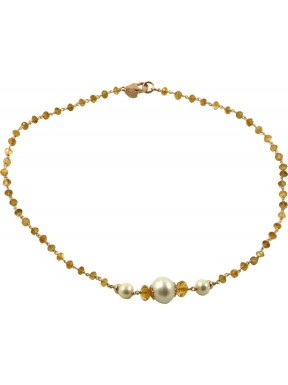 Citrine quartz chained necklace and fresh water pearls