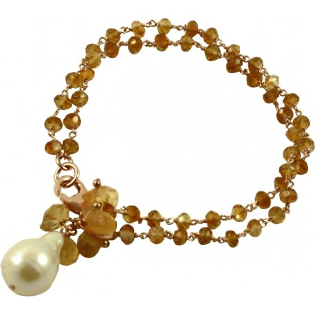 Two strand citrine quartz bracelet with pendant baroque pendant