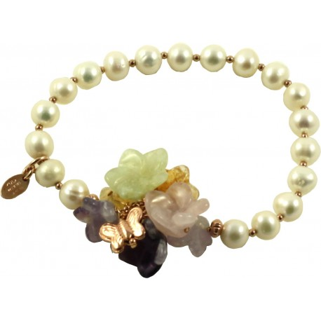 Bracelet fresh water pearls with multicolored quartz flowers