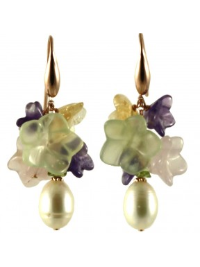 Multicolored quartz flower earrings and fresh water pearls