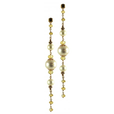Earrings made of citrine quartz and fresh water pearls