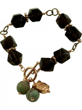 Bracelet in smoky quartz and green agate