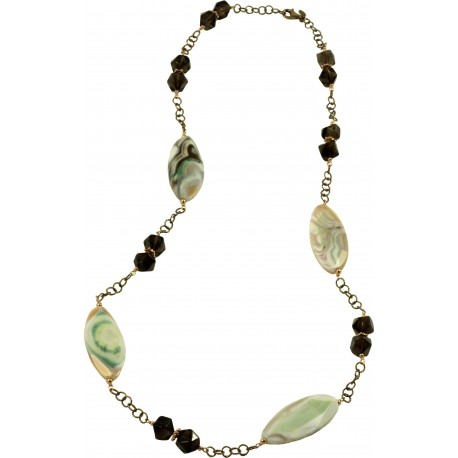 Necklace in smoky quartz and green agate