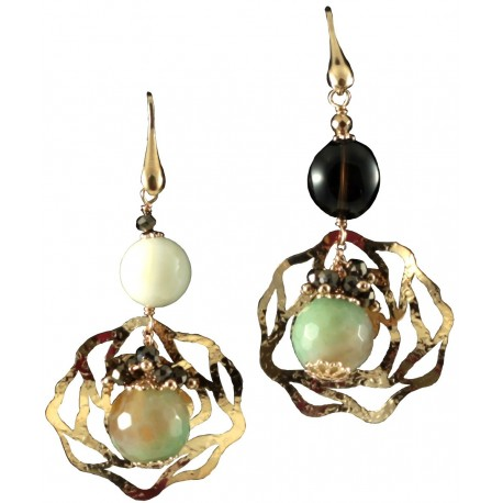 Earrings in smoky quartz, shell and green agate