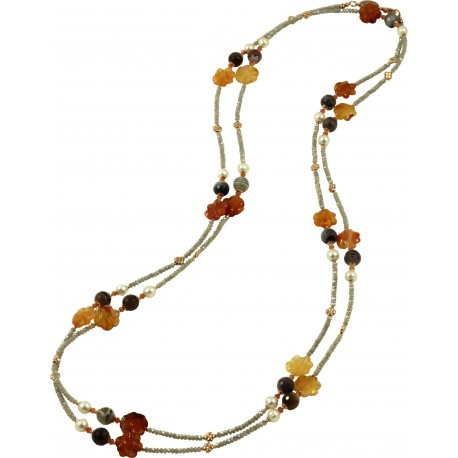 Necklace with hydrothermal quartz, botswana agate, carnelian flowers and pearls