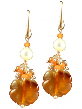 Earrings with carnelian flowers and pearls
