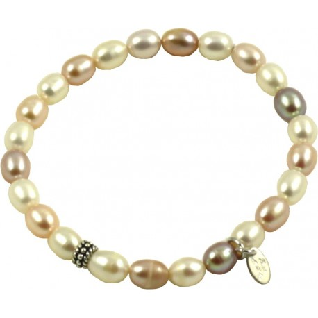 Basic bracelet multicolored pink rice shaped pearls